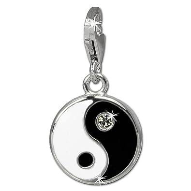 SilberDream Charm 925er Silber Emaille Anhänger s w YinYang Zirkonia  FC840S  Amazon.de  Schmuck 5d11029b94