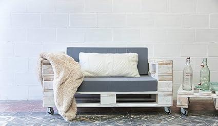 REMAKED Sofa Palet 120X80 Blanco (Incluye Ruedas y ...