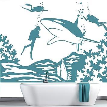 Hai Wandaufkleber Szene Unter dem Meer Wandtattoo Kinder Badezimmer ...