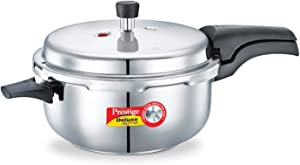 Prestige 5L Alpha Deluxe Induction Base Stainless Steel Deep Pressure Pan, 5.0-Liter