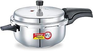 Prestige 5L Alpha Deluxe Induction Base Stainless Steel Deep Pressure Pan, 5.0-Liter