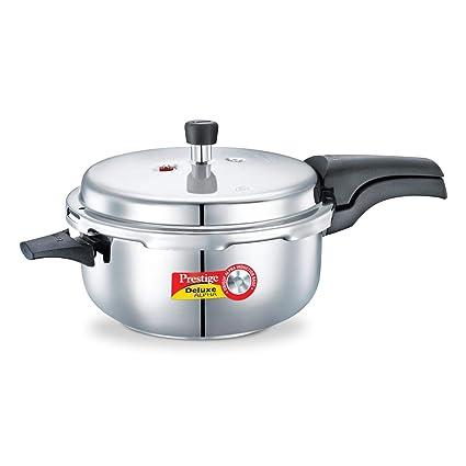 Prestige Deluxe Alpha Stainless Steel Deep Pan Pressure Cooker, 5 Litres, Silver