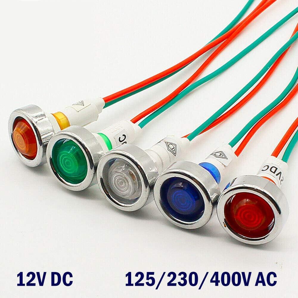 4 pcs 12 V DC K01A LED Indicateur Dalimentation Pilote Dash Tableau de Bord Voyant Voyant Davertissement Indicateur Lampe Signal lumi/¨/¨re Jaune 10mm