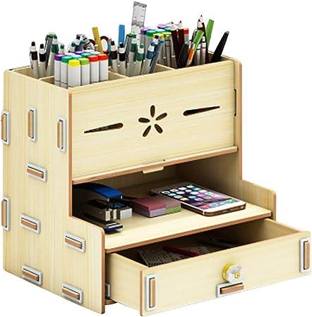 Juntful Caja de Almacenamiento de Madera para sujetalibros, Organizador de Escritorio Multifuncional para Oficina: Amazon.es: Hogar