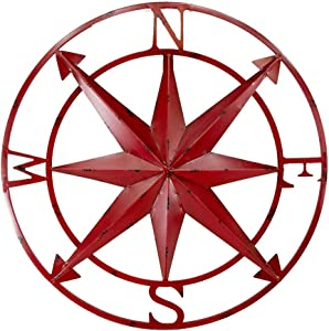 20 Inch Distressed Metal Compass Rose Nautical Wall Decor Indoor or Outdoor Wall Decor, Red