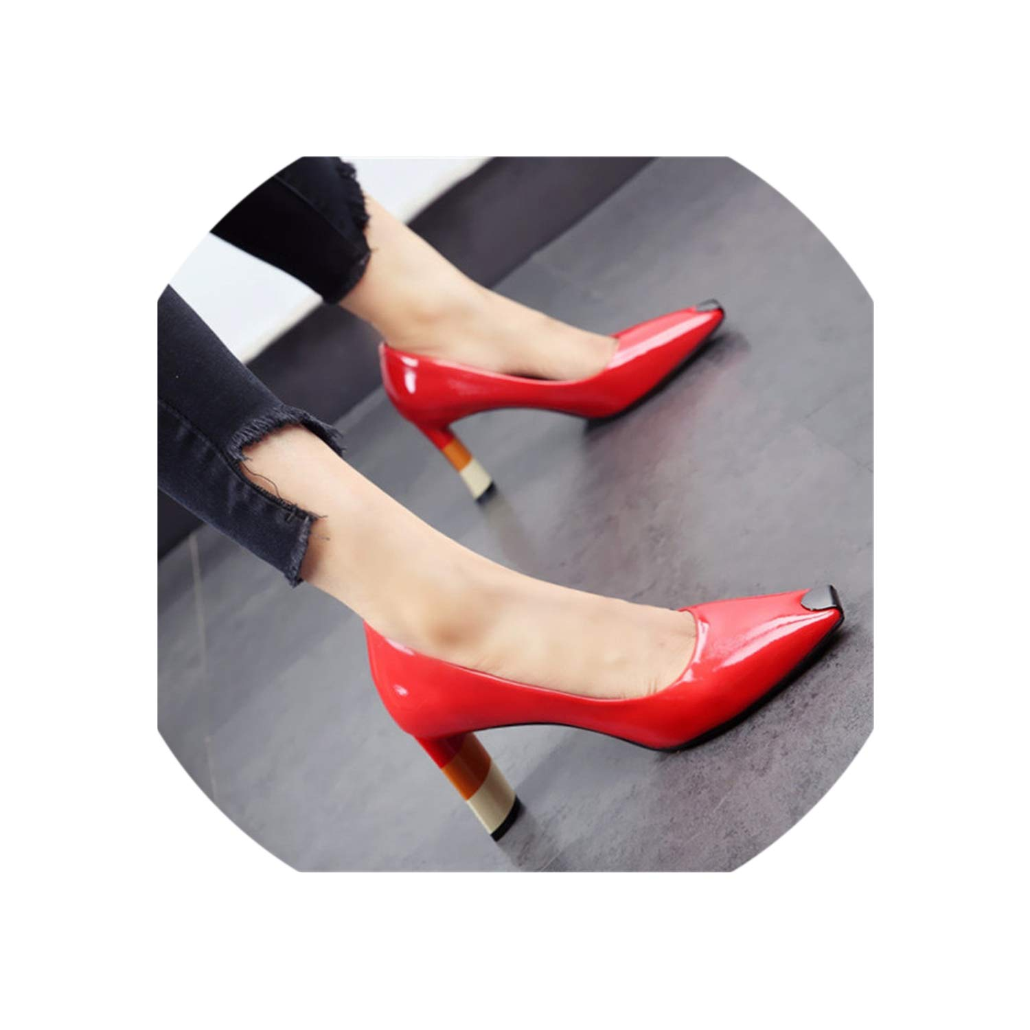 Red colord Heel Women High Heel shoes Metal Square Toe Girls Party Wedding shoes Spring Women Pumps