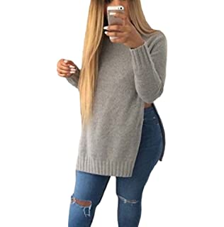 Minetom Damen Langarm Pullover Rundhals Knit Bluse Longshirt Mit Slit Side  Hem 23d95a0465