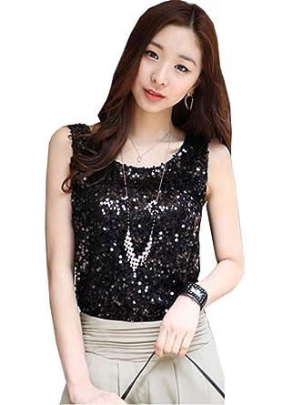 Womens Shining Vest Bling Sequin Tank Top Sleeveless T Shirt Blouses