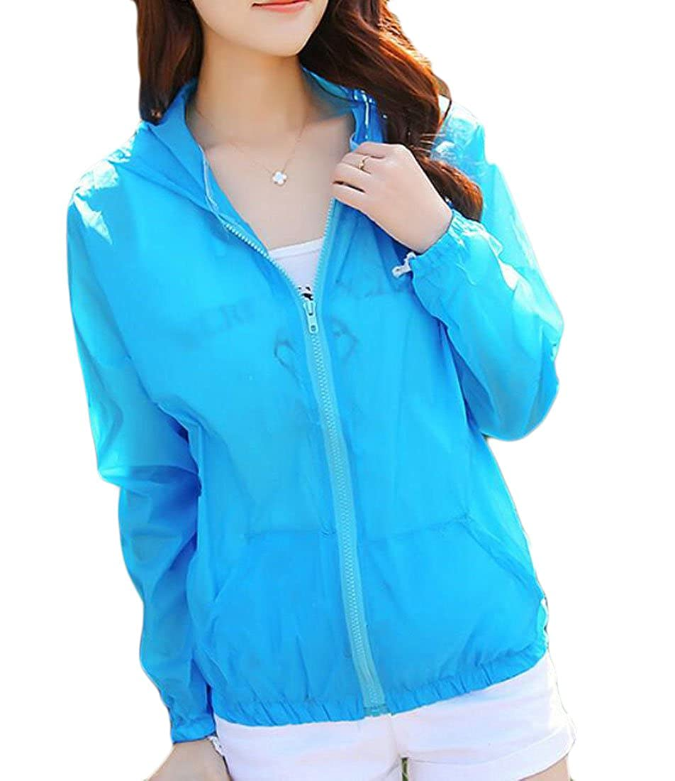 CRYYU-Women Anti-UV Long Sleeve Hoodie Jacket Sunscreen Short Beach Coat