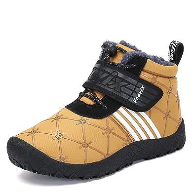 d57f8d4fd8ece Voovix Fille Garcon Hiver Chaussures Chaud Bottes Neige Femmes Fourrure  Doublées de Antidérapant pour Enfant(
