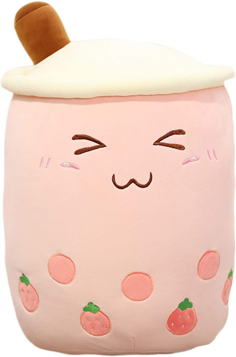 Bubble Tea Plush Pillow Toy Stuffed Body Pillow Plushie Cartoon Cup Shaped Pillow Doll, Cute Soft Hugging Pillow Back Cushion (Pink-Small Eyes, 50cm/19.68inch)