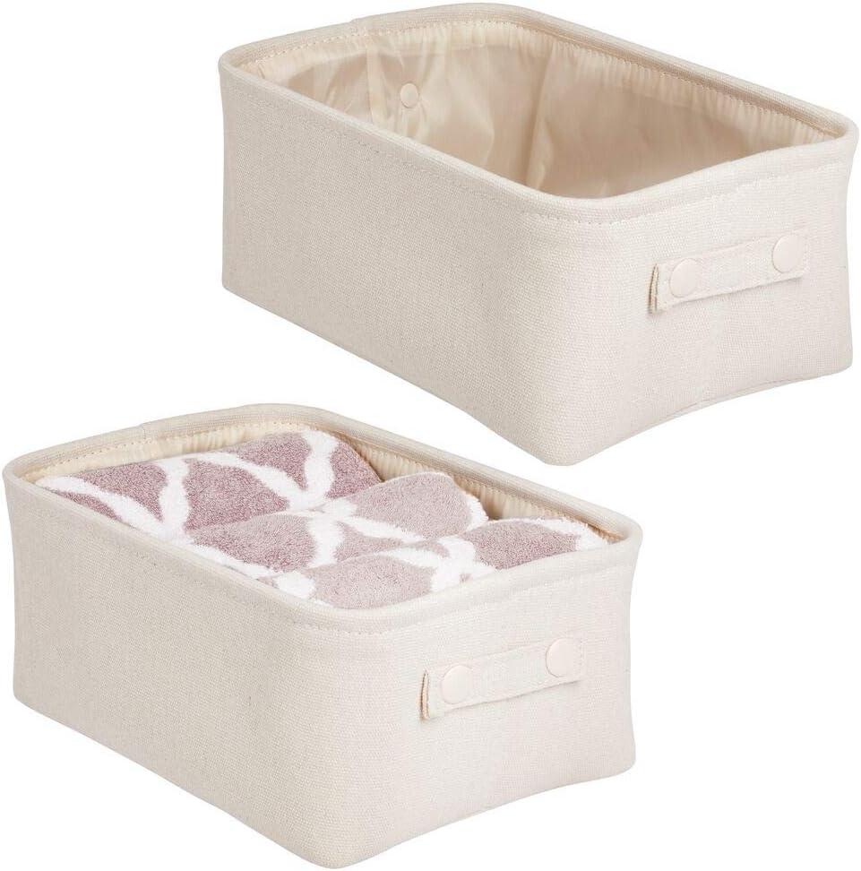 mDesign Juego de 2 cestas de tela con forro y diseño estructurado – Ideal como cesto para baño u organizador de cosméticos – Práctico organizador de baño de algodón y metal con asas – beige