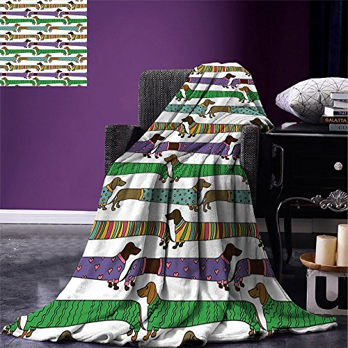 (smallbeefly Dog Lover Custom printed Throw Blanket Cartoon Style Dachshunds Dressed in Pyjamas Chevron Lines Polka Dots and Hearts Velvet Plush Throw Blanket Multicolor)