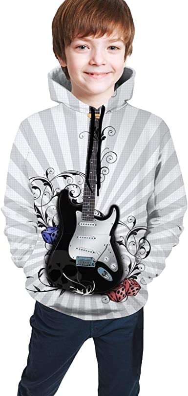 TVHKSO Youth Hoodies Pullover Guitar Sweater Hooded with Pocket Sweatshirt for Boys Girls
