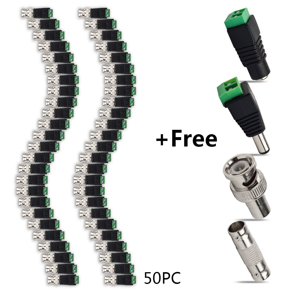 Eagles(TM)50pcs BNC Male Video Balun Connector with Free BNC Male to RCA Female Adaptor/ BNC Female to Female Adapter/CCTV DC Power Male & Female Jack for Coax Cat5 Cat6 to CCTV Coaxial Camera
