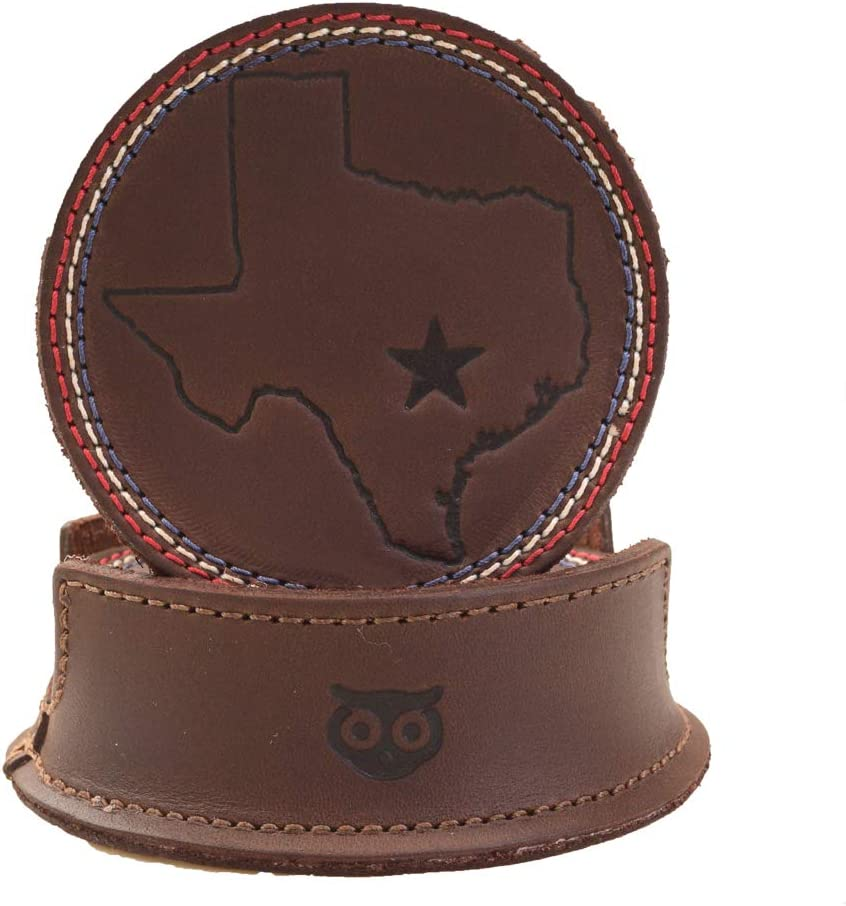 H&D Hide & Drink, Durable Thick Leather Texas State, Lone Star Coasters with Stitching (6-Pack) Handmade Includes 101 Year Warranty :: Bourbon Brown