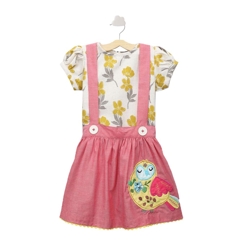 Girls Cotton and Spandex Embroidered Skirt with Floral Printed Blouse and Buttons