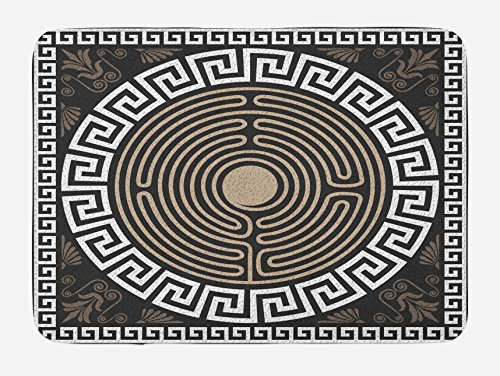 - Ambesonne Greek Key Bath Mat, Grecian Fret and Wave Pattern on Dark Background Antique Retro Swirls, Plush Bathroom Decor Mat with Non Slip Backing, 29.5 W X 17.5 W Inches, Dark Brown Coconut Tan