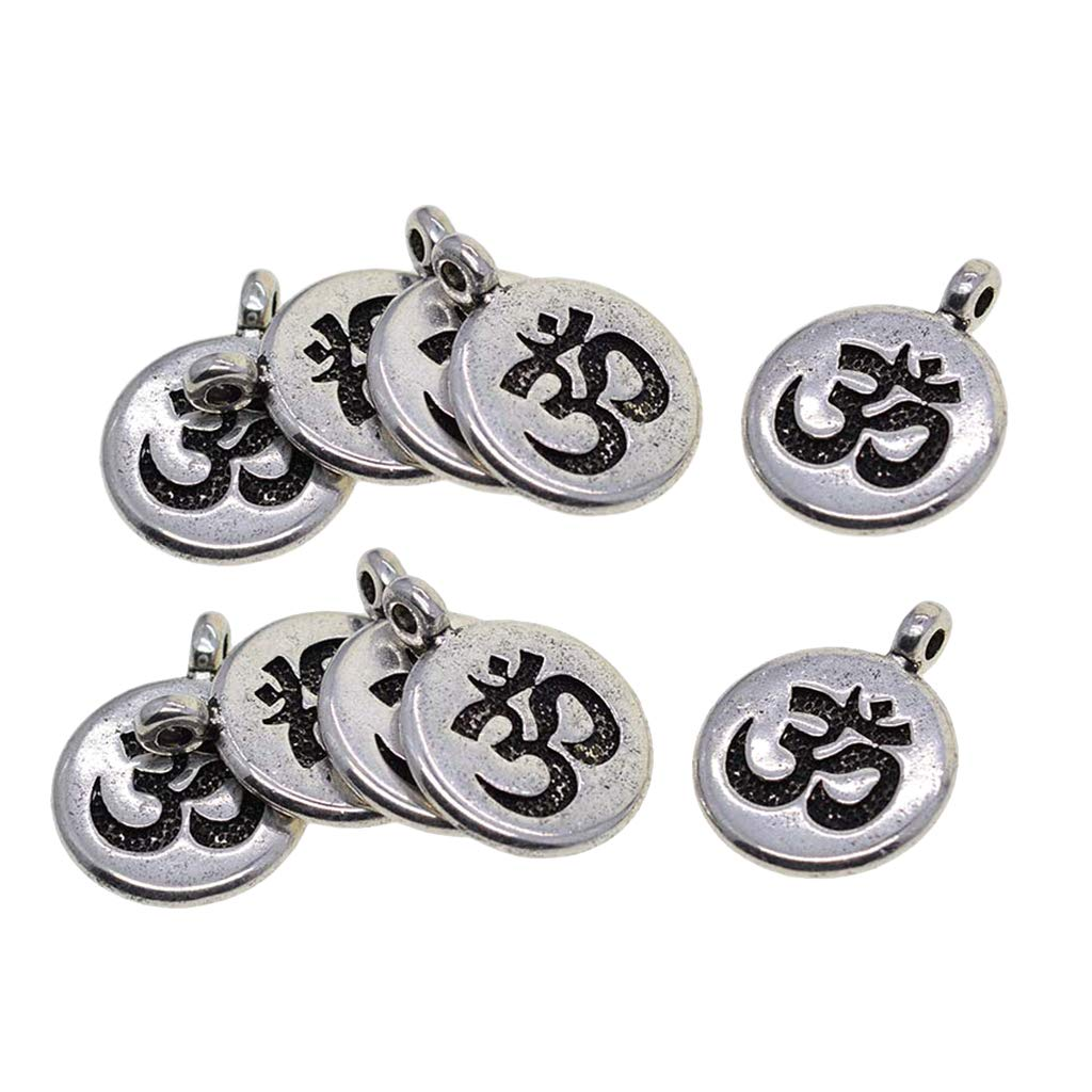 Baoblaze 60 Pieces Tibetan Silver Om Yoga Charms Lotus Flower Charms Pendant Necklace Pendant for DIY Necklace Bracelet Earring Jewelry Making