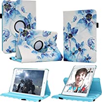 FIII iPad mini 1/2/3 Case - 360 Rotating Leather Stand Smart Cover with Stylus Pencil Holder and Auto Sleep Wake For Apple 7.9 inch Tablet mini iPad 1st, 2nd and 3rd Generation (Fantastic Flower)