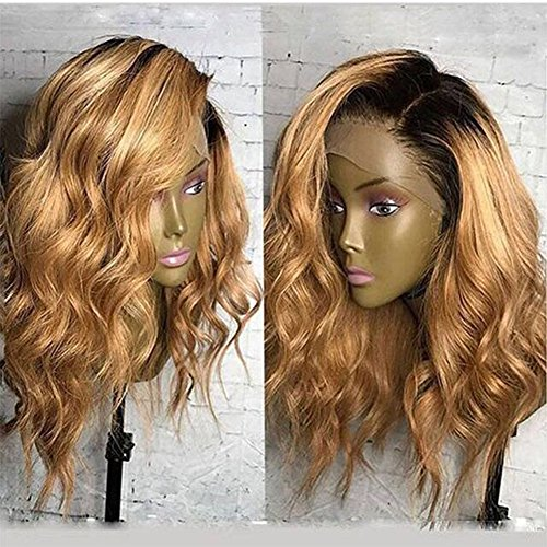 Fantasy Beauty #1B/#27 Ombre Honey Blonde 360 Lace Frontal Wig Short Human Hair Wigs For Black Woman Glueless Full Lace Human Hair Wigs (16 Inches, 360 Lace Frontal (27 Glueless Lace)