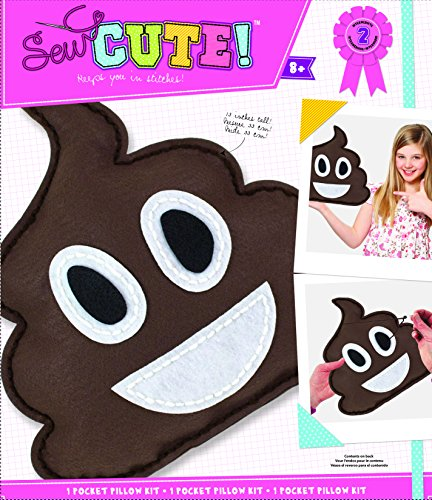 ColorBok Sew Cute Felt Sewing Kit Emoji Brown Pillow Craft For Kids ()