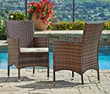 Suncrown Outdoor Furniture Wicker Chairs (2-Piece Set) Thick, Durable Cushions | Partner with Tables, Umbrella Stand or Sofa | Porch, Backyard, Pool or Garden Seating
