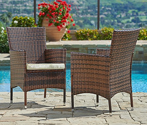 Suncrown Outdoor Furniture Wicker Chairs (2-Piece Set) Thick, Durable Cushions | Partner with Tables, Umbrella Stand or Sofa | Porch, Backyard, Pool or Garden Seating (Resin Wicker Dining Chairs)