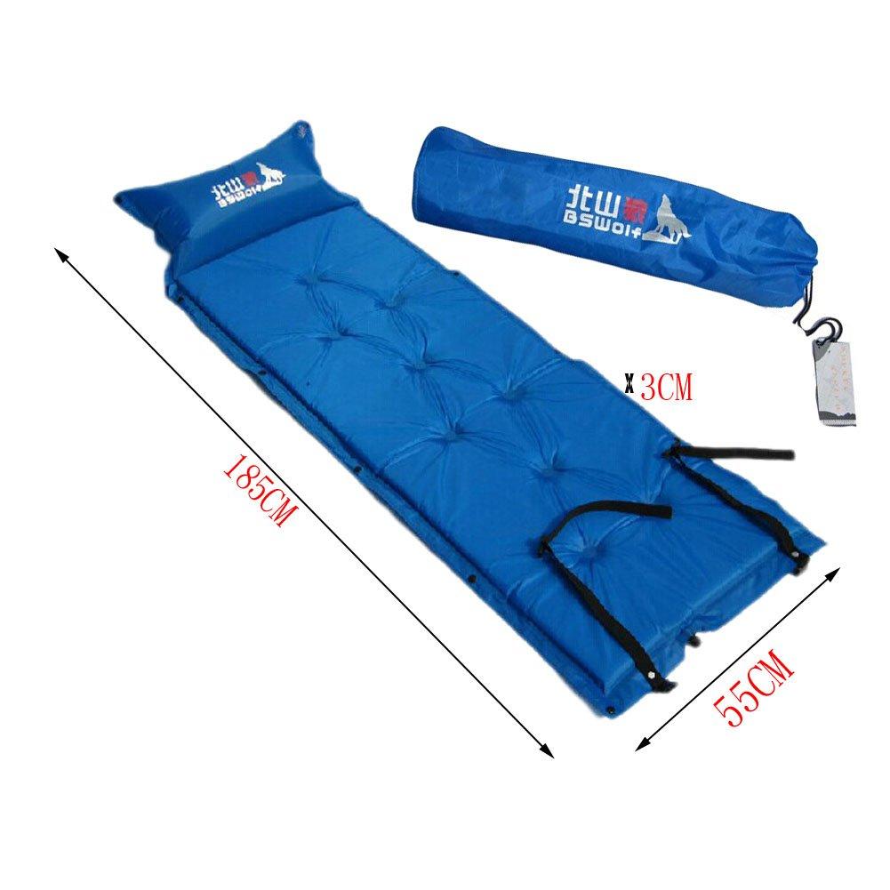 軽量シングルSleepingマットマットレス膨らむパッド枕、ブルー B00KYP8GU2