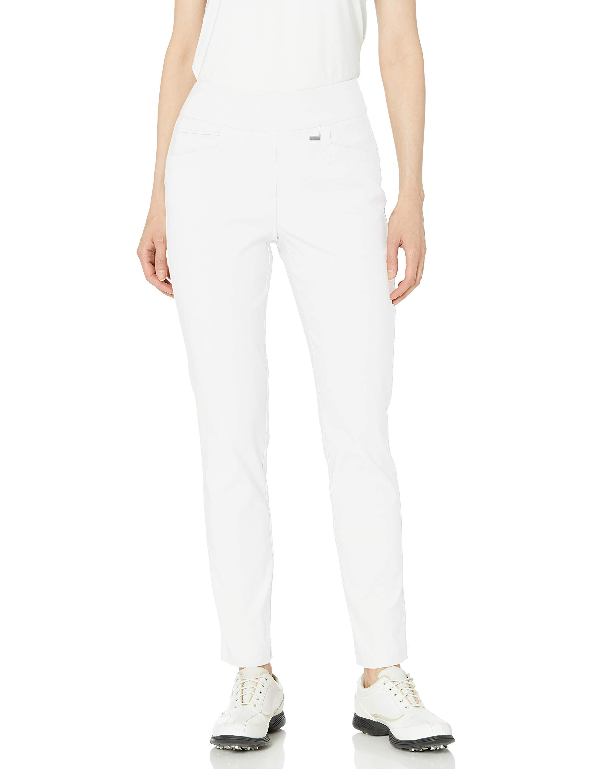 EP Pro Golf Women's Bi-Stretch Pull-on Slim Ankle Pants, Large, White by EP Pro Golf