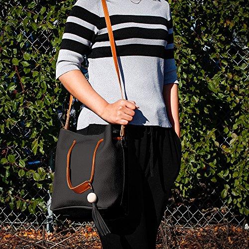 Oct17 Fashion Tassel buckets Tote Handbag, Women Messenger Hobos Shoulder Bags, Crossbody Satchel Bag - Black by OCT17 (Image #3)
