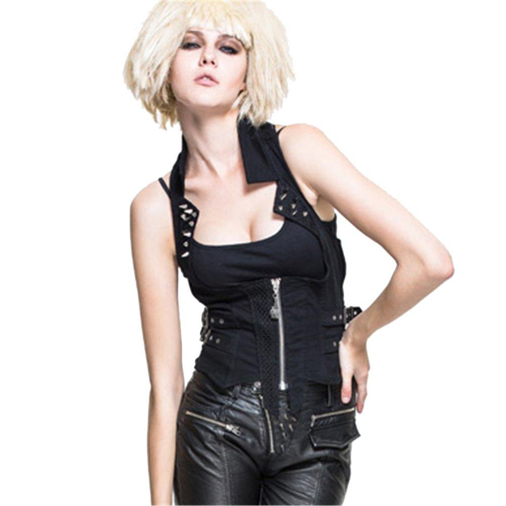 Devil Fashion Punk Gothic Women Cotton Wasitcoats Summer Rivet Corset Top Casual Vest T-6