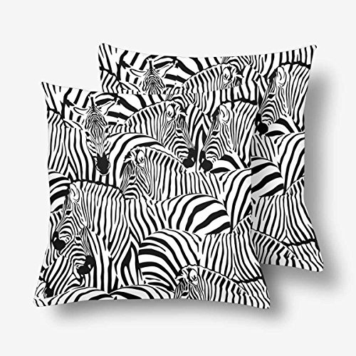 InterestPrint Zebra Animal Striped Print Black White Tropical Throw Pillow Covers 18x18 Set of 2, Pillow Cushion Cases Pillowcase for Home Couch Sofa Bedding Decorative (Chair Zebra And Black White)