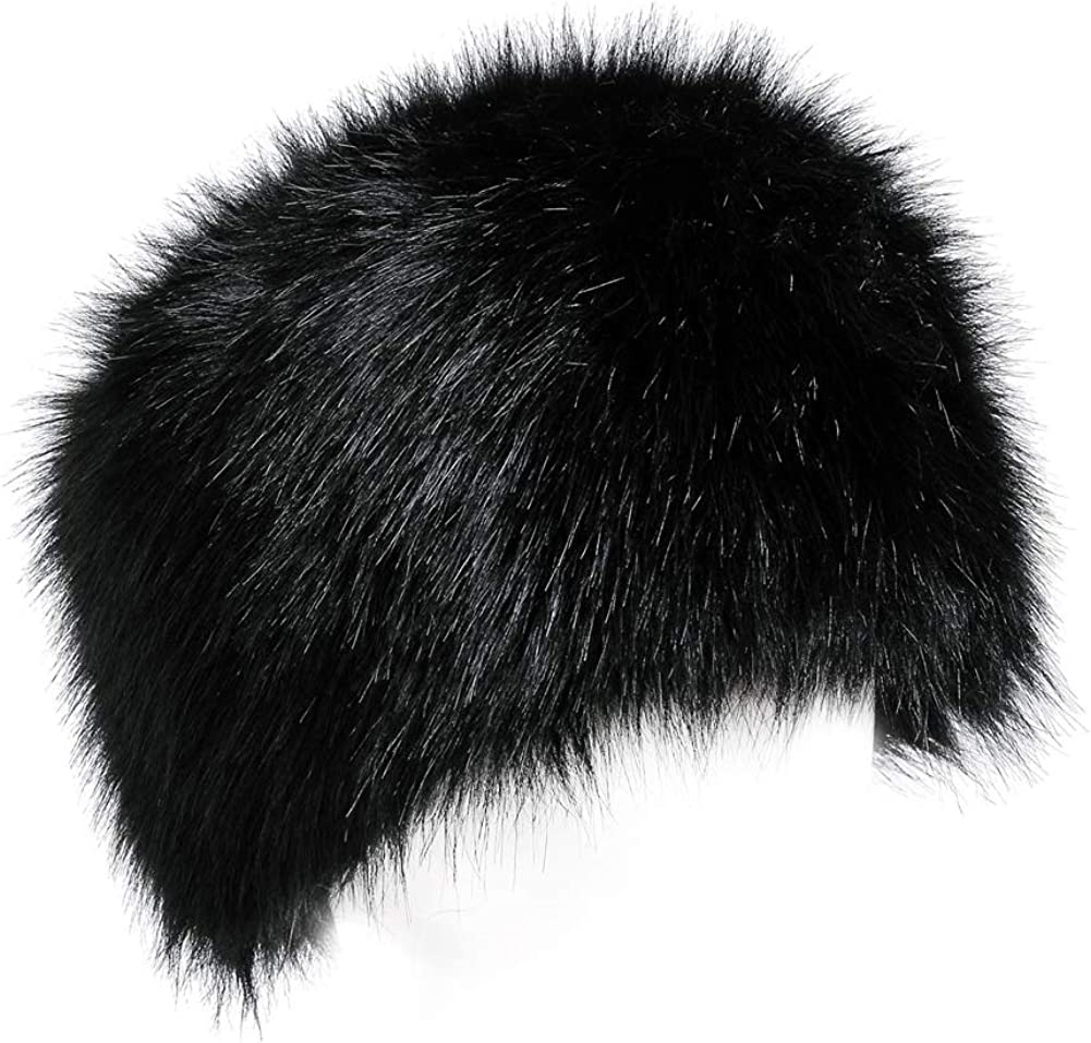 Yetagoo Faux Fur Women Russian Cossack Hat for Ladies Winter Black: Clothing