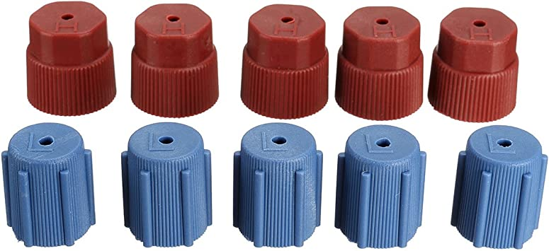 Early Bus 5Red High /& 5Blue Low 10Pcs//Set R134a 5 Blue Low 13mm /& 5Red High 16mm Air Conditioning Service AC System Charging Port Caps