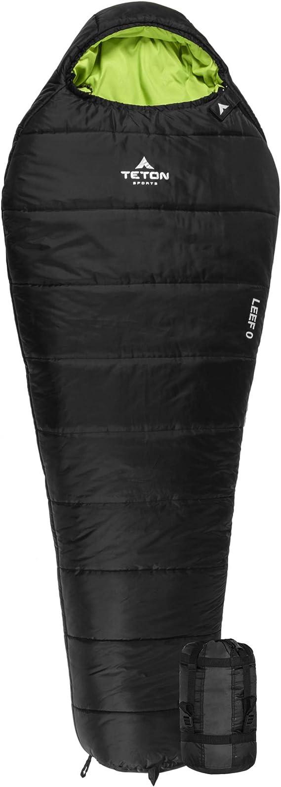 TETON Sports LEEF Lightweight Mummy Sleeping Bag; Great for Hiking