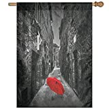 HUANGLING Red Umbrella On A Dark Narrow Street In Tuscany Italy Rainy Winter Home Flag Garden Flag Demonstrations Flag Family Party Flag Match Flag 27''x37''