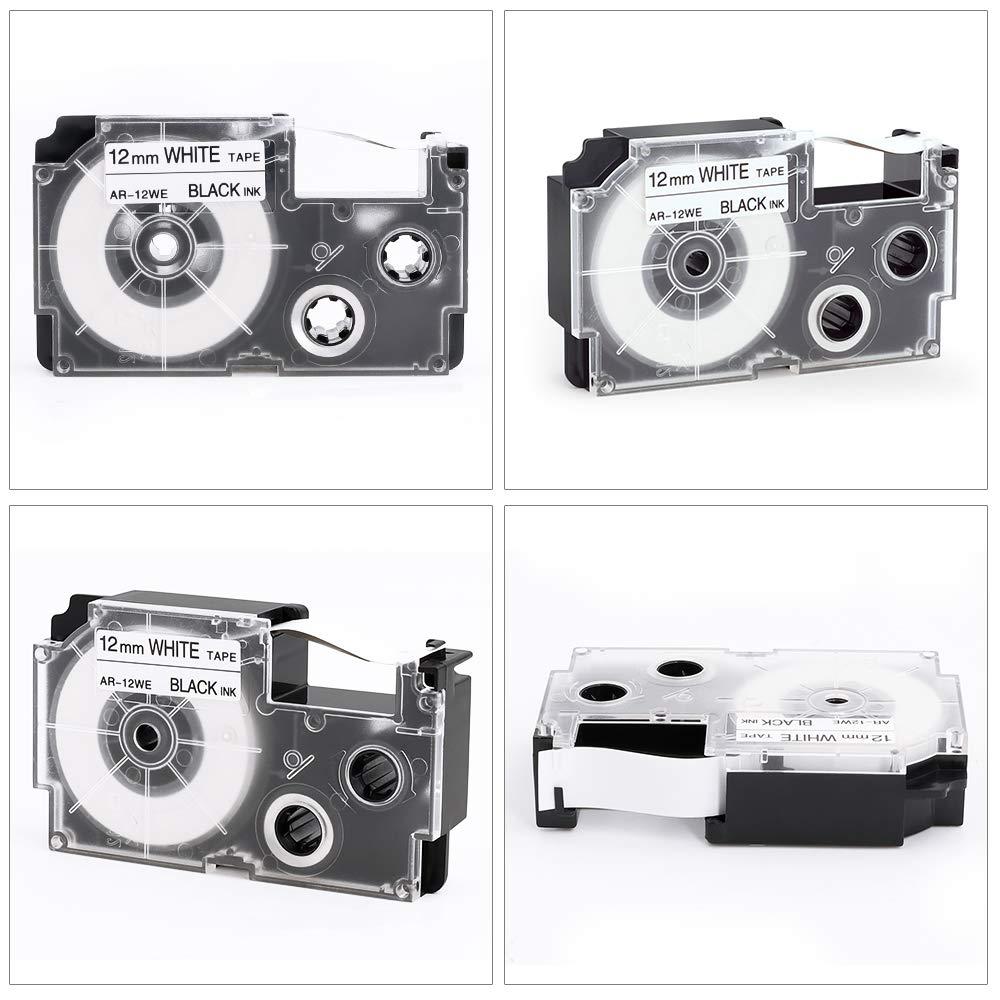 3X Nastro per etichette Compatibile Casio XR-12WE XR-12WE1 Nero su Bianco 12 mm x 8m per Casio KL-60 KL-120 KL-820 KL-70e KL-100 KL-200 KL-300 KL-C500/KL-780 KL-P1000 KL-1500 KL-2000 Etichettatrice