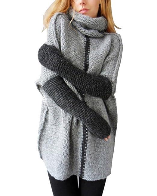 Minetom Suéter De Cuello Alto Mujer De Punto Invierno Moda Jerséis Pullover Acanalado Suéter Gris ES