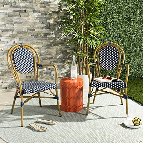 Safavieh PAT4014A-SET2 Outdoor Collection Rosen Navy and White French Bistro Stacking Arm Chair ()