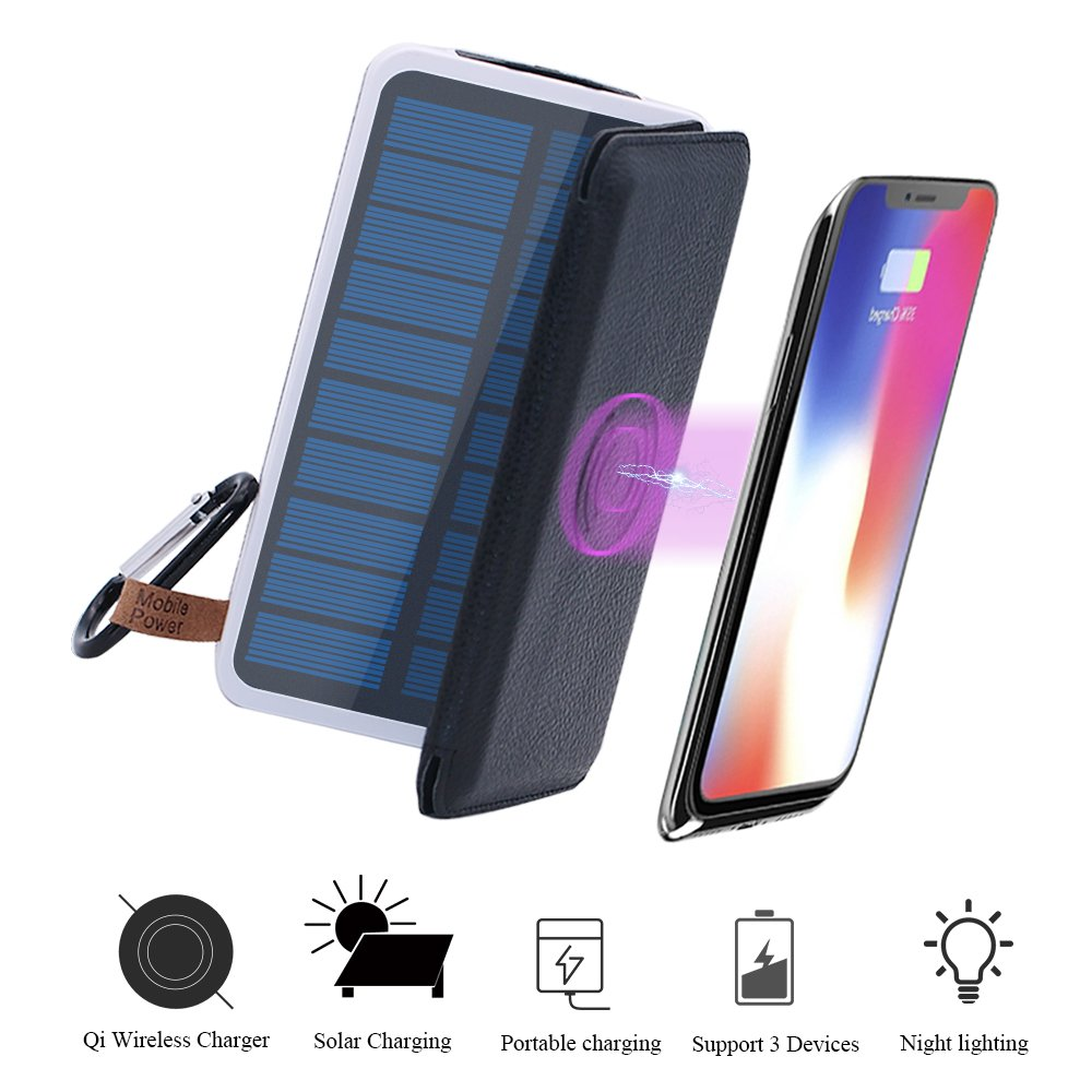 Wireless Charger Solar Power Bank-TJFOREVER 10000mAh Waterproof Solar Charger with QI Fast Wireless Charging Pad,3 Foldable Solar Panels,Dual USB,LED Flashlight for IPhone X/8/8 Plus,S8 (black) by TJFOREVER