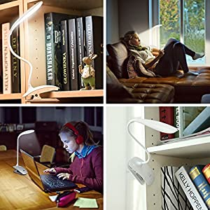 Amir Rechargeable Desk Lamp, 16 LED Flexible Clip-on Table Lamps, Touch Sensitive Reading Lamp, 3-Level Dimmable Eye Care Book Light for Bed and Music Stand-White