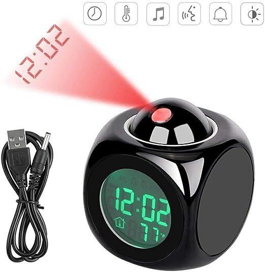 LONG-D Reloj Despertador De Proyección Digital LCD Pantalla De Voz ...