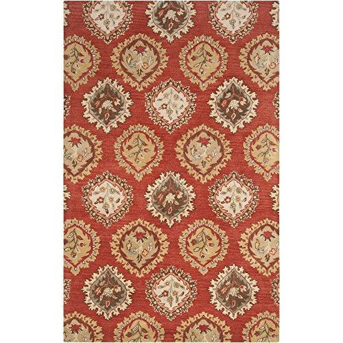 Surya Langley LAG-1010 Classic Hand Tufted 100% Wool Burnt Sienna 2' x 3' Paisleys and Damasks Accent Rug (Wool Rug Burnt Sienna)