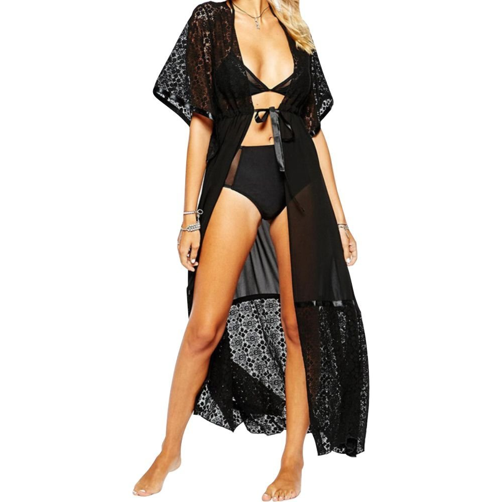 Landove Cardigan Lungo Donna Estivo Pizzo Floreale Chiffon Kimono Boho Copricostume a Maglia Abito da Mare Spiaggia per Costumi Da Bagno Bikini Cover Up L-KS-CLACE-WH