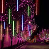 TianNorth Upgraded 50cm 8 Tubes 432 LED Meteor Shower Lights,8 Ultra Bright LED Waterproof cicle Raindrop Lights 19.68 inches Tubes for Christmas,Tree,Wedding, Party,Yard,etc (Multicolor)