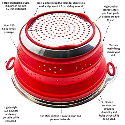 First-class 2-in-1 Collapsible Colander with Stainless Steel +2 eBooks. FDA Certified Silicone. Easy to Wash Strainer. 3 & 2 Quarts. Gift Idea for Women - Mom / Mother or Wife, Her Birthday or Wedding