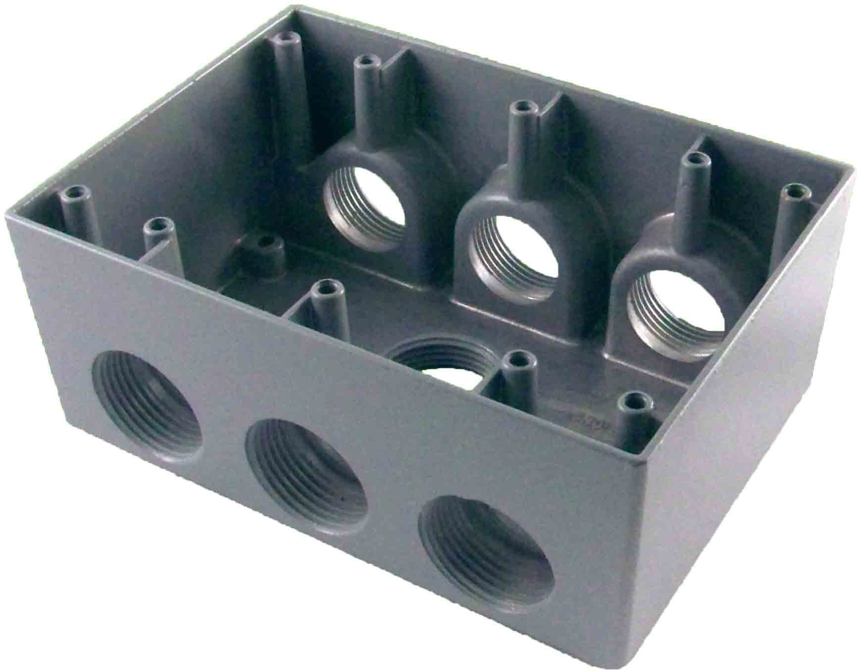 Made in USA Weatherproof Electrical Outlet Box (7) 1'' Holes - Gray