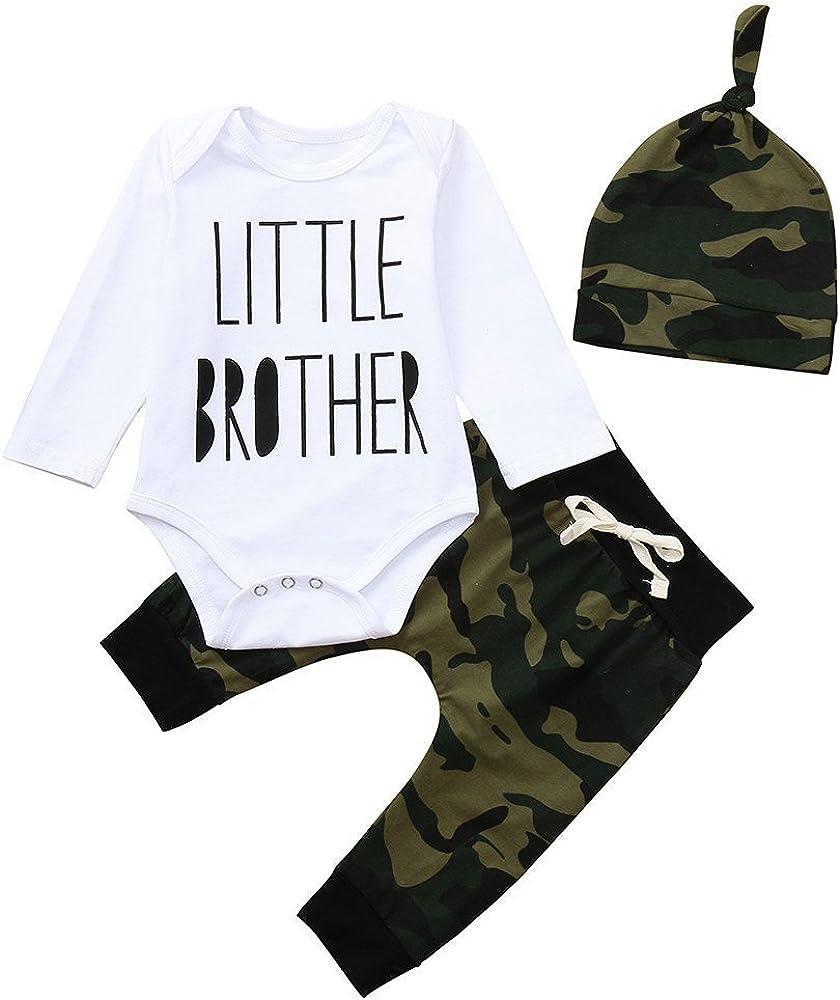 ALIKEEY Newborn Toddler Baby Boys Carta Mameluco Overol De Pantalones De Camuflaje Looks Set Plus Flotante Brazo Manga Larga
