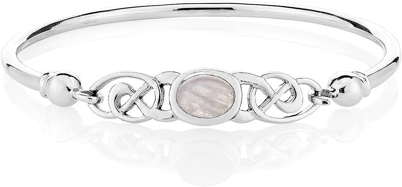 DTP Silver – Pulsera para Mujer de Plata 925 - Nudo de la Trinidad Celta - Colección Celta - Varias Piedras Naturales Semipreciosas